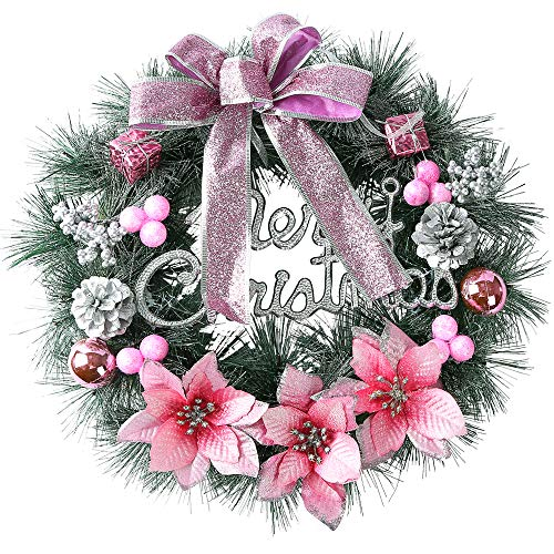 H&W Christmas Wreath Door Wall Ornament Garland Decoration Bowknot - 15.7inch/40cm - Home Décor(Pink)