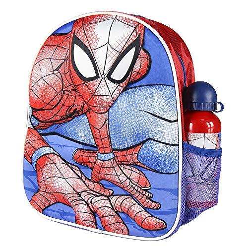 Cerdá, Mochila con Botella de Agua Infantil de Spiderman-Licencia Oficial Marvel Studios Unisex niños, Multicolor, 250X310X100MM