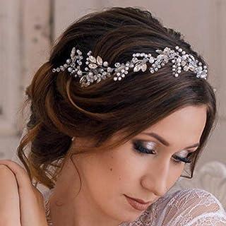 Handcess - Accessorio per capelli da sposa in cristallo con perle argentate, per donne e ragazze