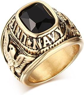VNOX الولايات المتحدة البحرية خواتم، مشاة البحرية، USMC، الفولاذ المقاوم للصدأ مطلي بالذهب الأسود تشيكوسلوفاكيا حجر