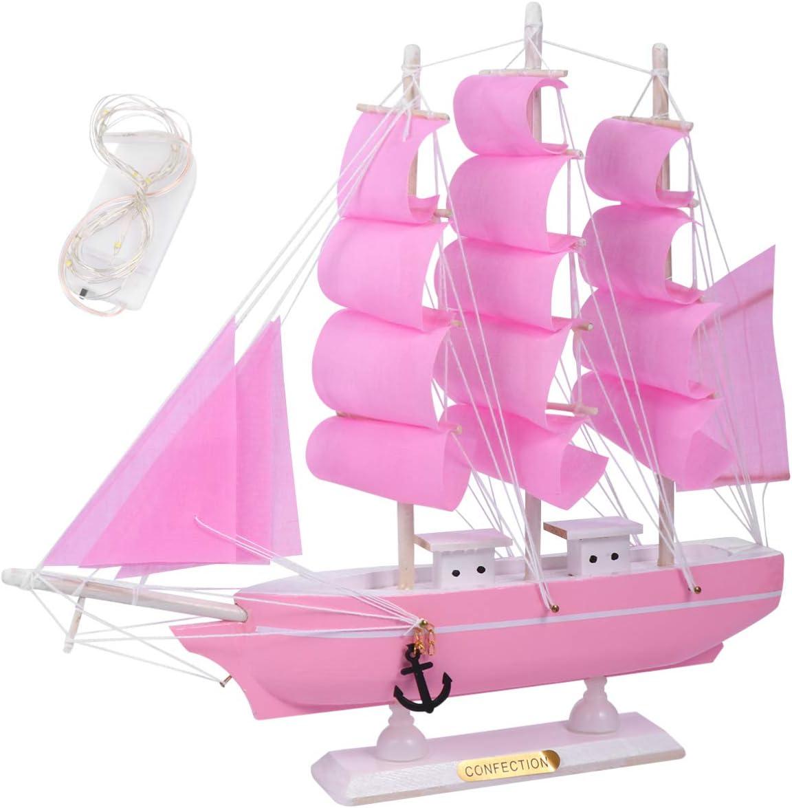 BESPORTBLE Sailing Ship Model Decor Wooden Miniature Sailing Boat Sailboat Model with LED Light Handmade Vintage Nautical Sail Ship Marine Coastal Tabletop Ornament for Home Decor