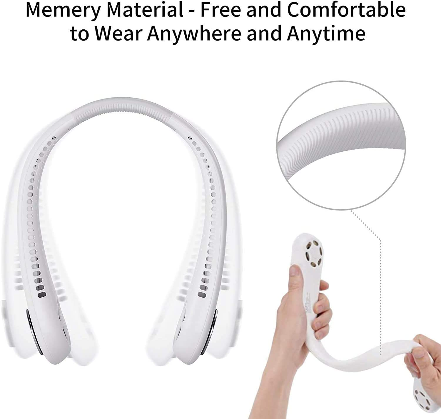Hand Free Personal Fan - Rechargeable Portable Mini USB Battery Neck Fan,3 Level Air Flow - Small Dual Effect Cooling Neckband Fan for Home, Office,Sports,Working,Travel,Outdoor