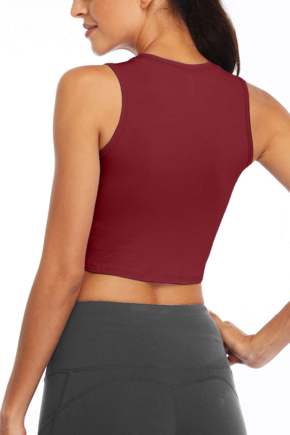 Sanutch Workout Crop Tops for Women Slim fit Yoga Dance Tops Cropped Muscle Tank