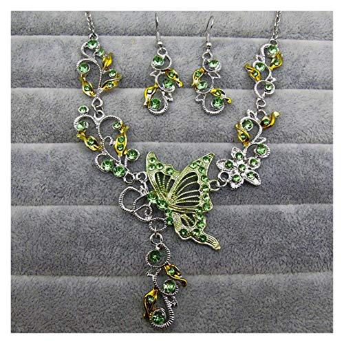 ZCPCS 2020 Popular Collar Europeo y Americano Anillo de Oreja joyería de Boda Novia Collar de joyería joyería Conjunto (Color : Green)