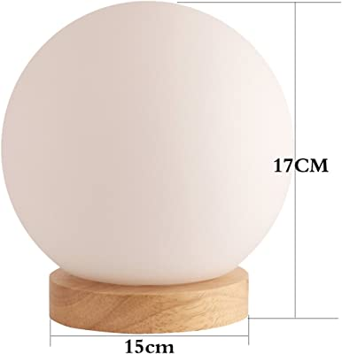 Bedside Table Lamp,WONFAST Minimalist Solid Wood Bedside Desk Lamp Simple Nightstand Lamp (Sphere