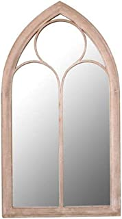 Garden Outdoor Wooden Arch Wall Mirror - Gothic Style Effect Wall Glass Mirror with Durable Wooden Frame Wall Decor Add Sp...