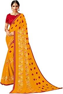 Yellow Bandhani Indian Women Light Georgette Festival Saree Casual Ethnic Blouse Sari Occasional 8787