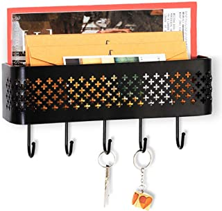 Nandae Key Holder Mail Organizer Wall Mounted Metal Entryway Storage Basket Letter Sorter Key Rack with 5 Hooks for Home Office Mudroom Kitchen, Black