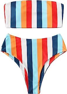 SweatyRocks Women's Bathing Suits Striped Bandeau Bikini high Waisted Swimsuits Swimwear Set