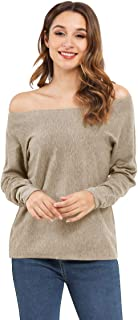 VGFK Women Off Shoulder Sweater Long Sleeve Tops Pullover Knit Jumper Batwing Sleeve Tunic Loose Sweater