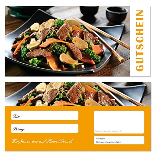 200 Stück Geschenkgutscheine (GUT-701) Gutscheine Gutscheinkarten für Bereiche wie Gastronomie Fleisch Grillen Restaurant Nudeln