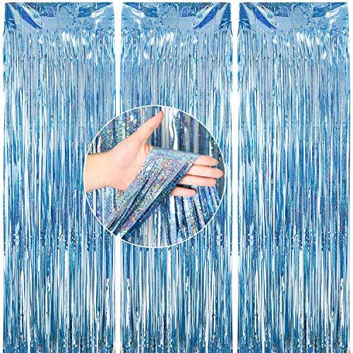 PartyWoo Cortina Papel Aluminio, Cortinas de Oropel 1x3m, 3 Cortinas de Telón de Fondo, Cortinas Flecos Papel Aluminio, Cortina Hilo, Telón Fondo Fiesta, Telón Fondo Boda (Azul)