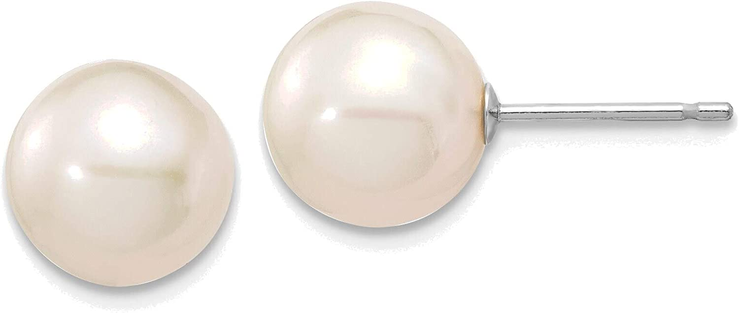 14kt White Gold 8-9mm White Round Freshwater Cultured Pearl Stud Post Earrings
