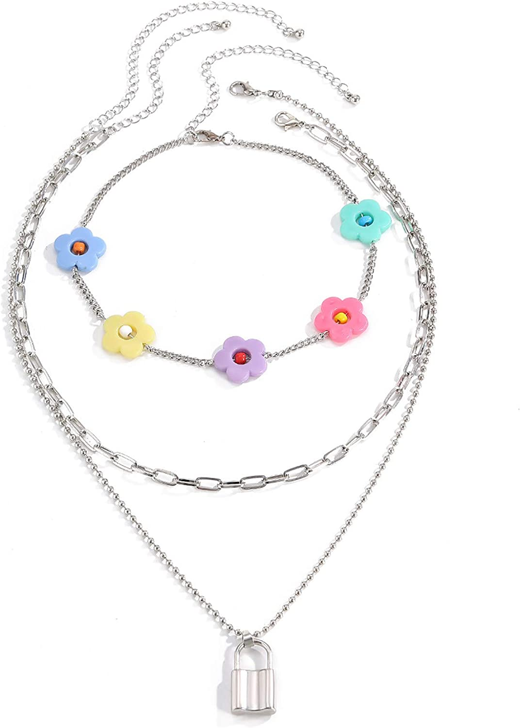 JENPECH Fashion Pendant Necklace Rhinestone Clavicle Chain Jewelry,3Pcs Creative Flower Clavicle Set Chain Simple Personality Lock Alloy Necklaces - White