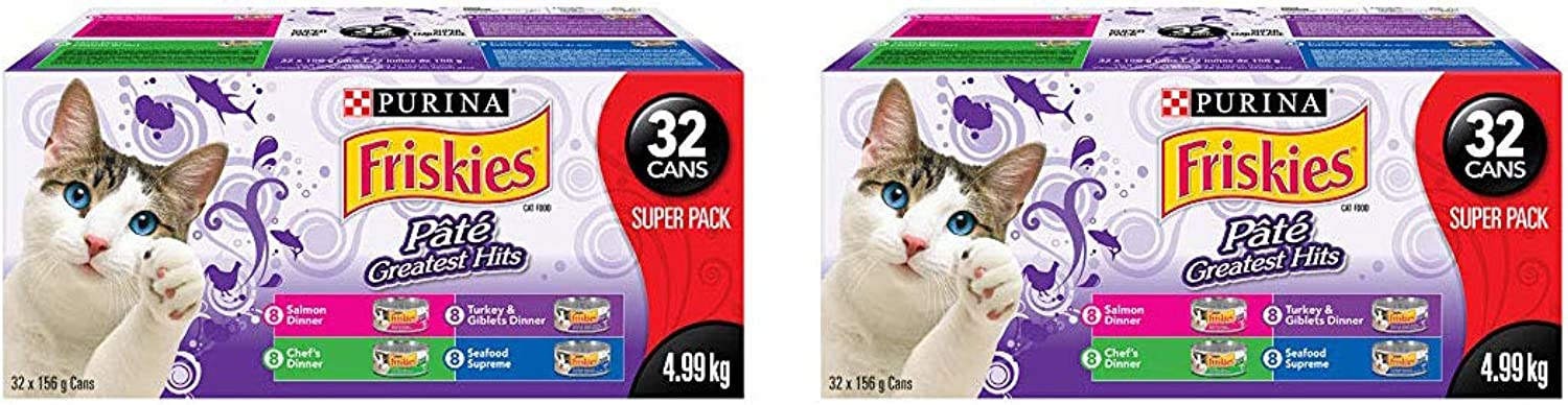 Friskies Purina Pate Greatest Hits Cat Food Super Pack 32156 g Cans, 1 Case   (Greatest Hits, 2 Pack)