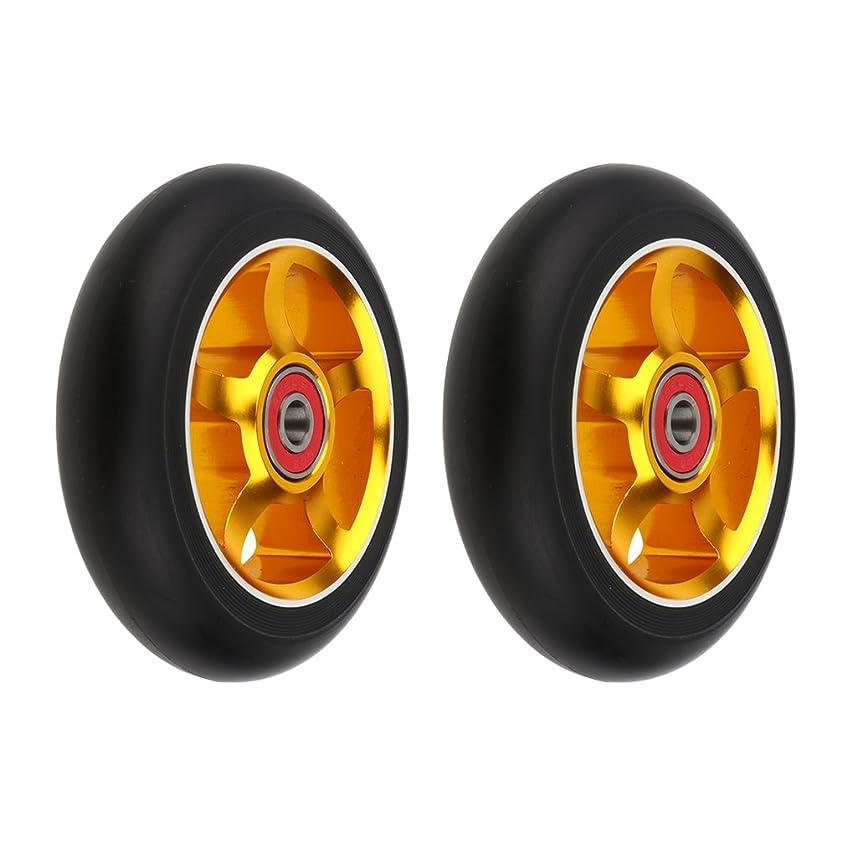 スリラー禁じるスクレーパーSunniMix キックボードホイール アルミニウム合金コア 耐摩耗性PU ベアリング付き 全7色