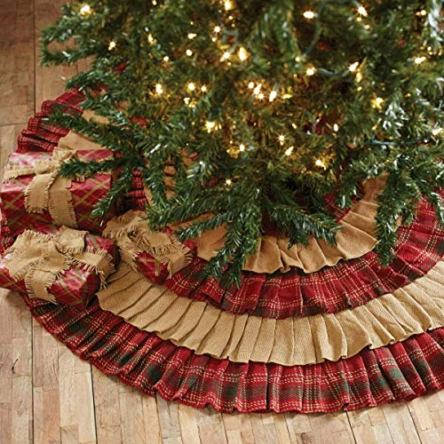Whitton Ruffled Christmas Tree Skirt Natural Burlap/Red Green Plaid