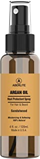 Aberlite Hair & Beard Heat Shield Protectant Spray - Argan Oil Thermal Protector Protect up to 450º F (Sandalwood Scent) - 4oz