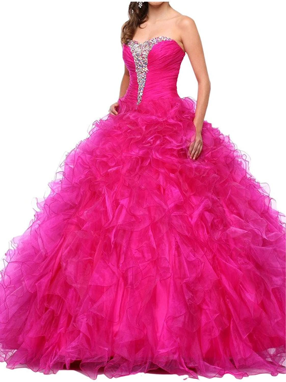 Avril Dress Strapless Ball Gown Sweep Rhinestone Quinceanera Dress Organza