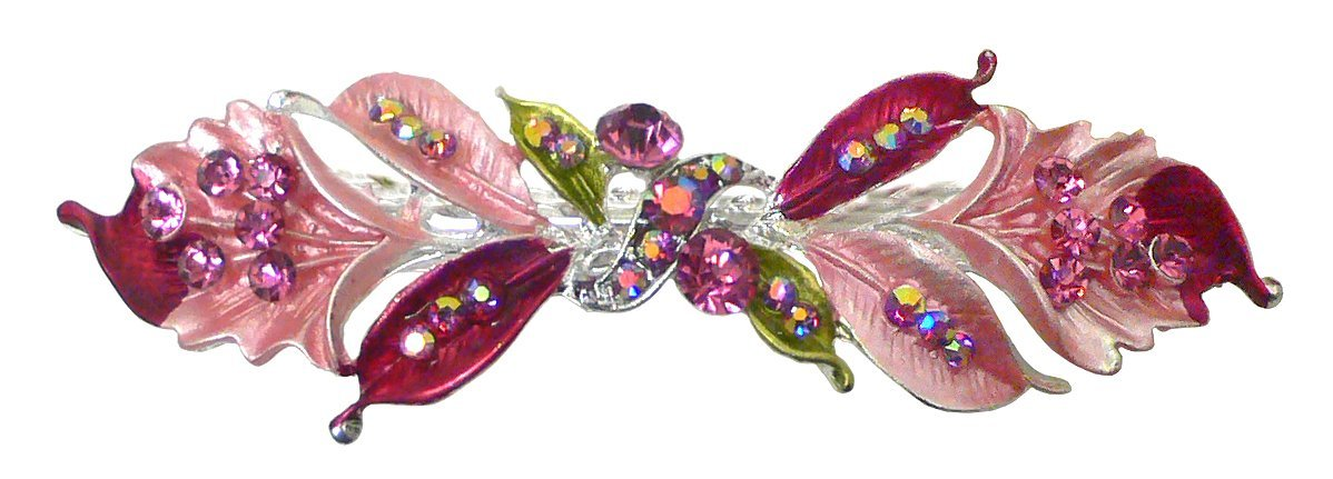 Bella Cheap super special price Medium Large Barrette Flower Leaves and Gifts Clip Sparkled Hair