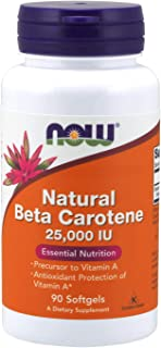 NOW Supplements, Natural Beta Carotene 25,000 IU, Essential Nutrition, 90 Softgels