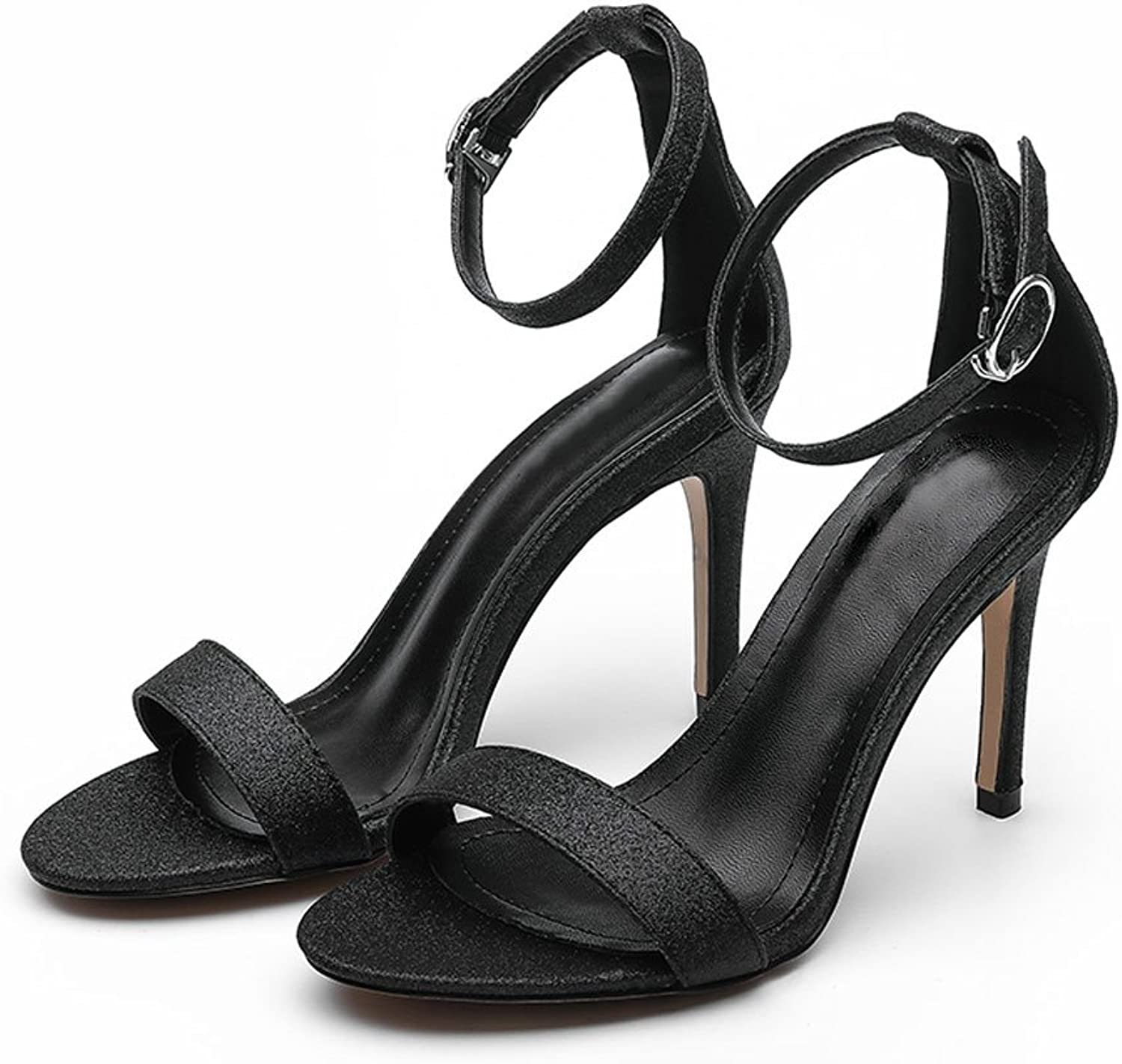 LIUXUEPING A Word with High-Heeled Sandals Female Summer 2017 New Fine with Sexy Open-Toe Hollow Simple Black Leather High Heels (color   Silver8cm, Size   39)