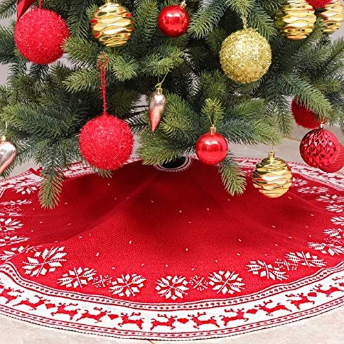 US Warehouse - Tree Skirts - New Christmas Gift Knitted Snowflake Deer Tree Skirt Christmas Tree Apron Decorations - (Color: A)