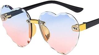 Child Cute Heart Rimless Frame Sunglasses Children Kids Gray Pink Red Lens Fashion Boys Girls UV400 Protection Eyewear (Le...