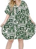 LA LEELA Mujer Kaftan Túnico Impreso Kimono Estilo Más tamaño Vestido para Loungewear Vacaciones Ropa de Dormir & Cada día Cubrir para Arriba Tops Camisolas Playa Verde_S825