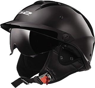 LS2 Helmets Rebellion Motorcycle Half Helmet (Black Chrome - Small)