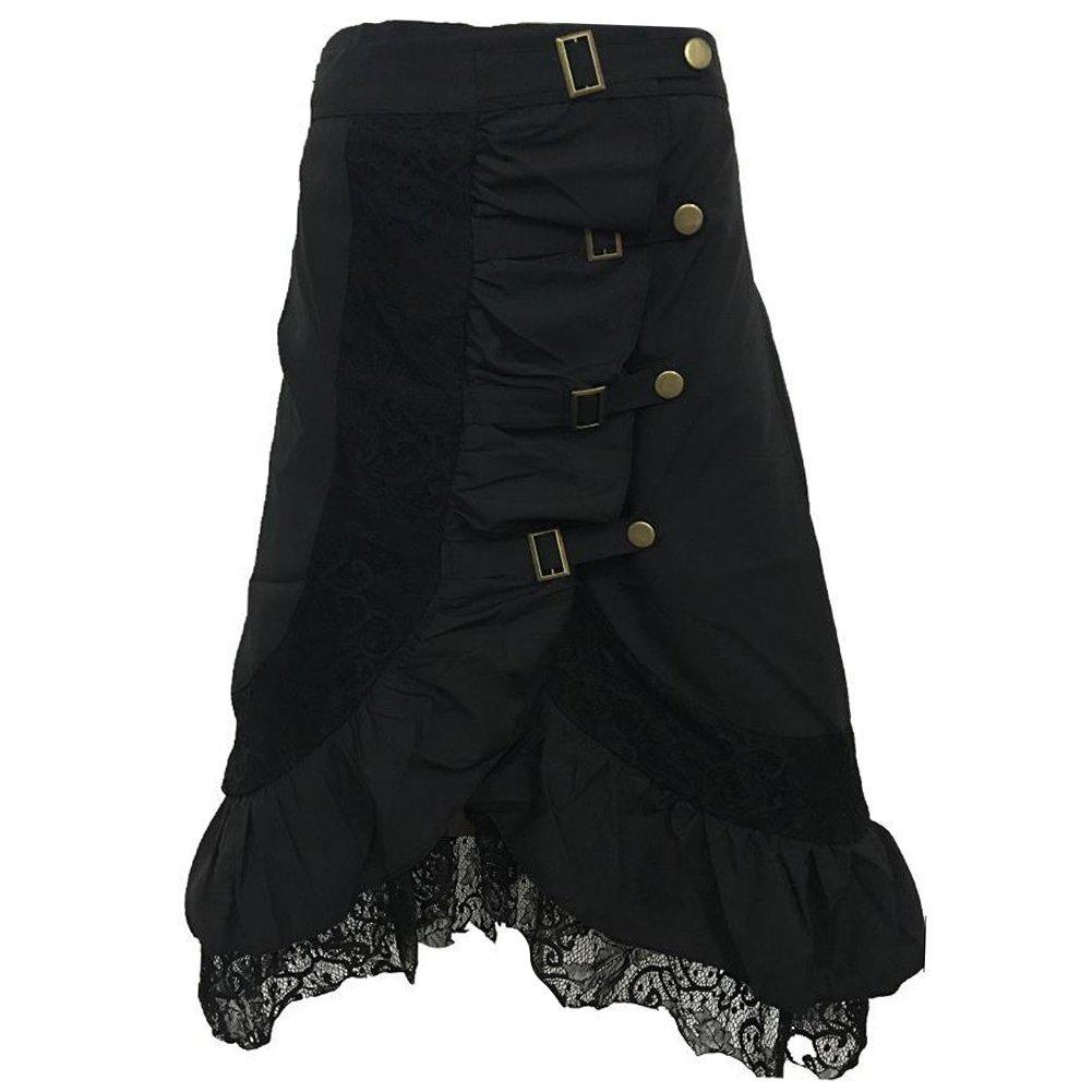 Moollyfox Mujer Punk Rock Gótico Faldas De Encaje Negro Asimétrico ...