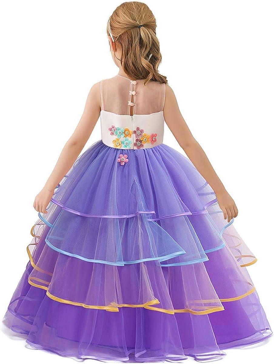 NEWEPIE Girls Unicorn Costume Pageant Princess Birthday Christmas Party Long Maxi Tulle Halloween Fancy Dress w//Headband