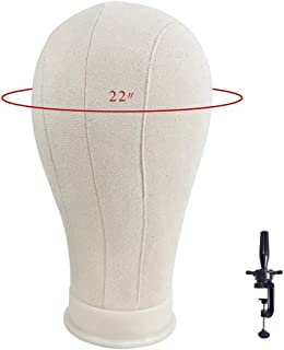 """Ba Sha 22"""" Cork Canvas Block Head Mannequin Head Wig Display Styling Head With Mount Hole (Table Clamp Included)"""