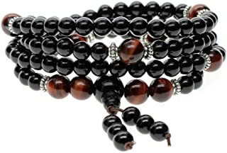 AmorWing 108 Beads Onyx Tiger Eye Mala Bracelet Necklace