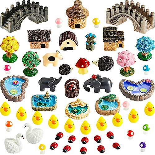 55 Accessori da Giardino in Miniatura Fata Statuine Decorative da Giardino in Miniatura Ornamenti Paesaggistici Fai da Te per Giardino Decorazione De Terrario Bonsai Pianta in Vaso