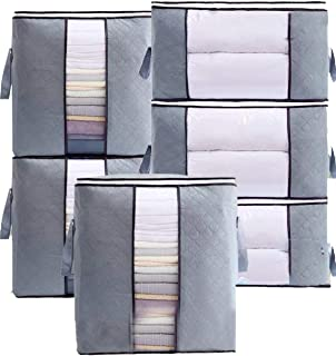 Qedimah 6 Packs Clothes Storage Bags Large Capacity, Clothes Organizer Quilt Bags Under-bed Storage Bags