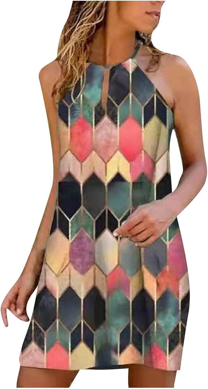 Oiumov Summer Dresses for Women, Womens Sleeveless Loose A-line Cami Mini Dress Casual Beach Sundress Loose Boho Dress
