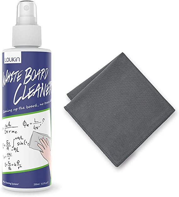 Amazon.com: LOUKIN Non-Toxic Whiteboard Cleaner, 8.5oz Dry Erase Board Cleaner, Low-Odor Whiteboard Cleaning Spray with Cloth, Removes Stubborn Marks from Whiteboards, Chalkboard : Office Products