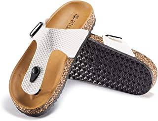 Fitclusion Women Thong Cork Sandals Flip Flop Slides Casual with Buckle Adjust Footbed Comfortable
