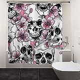 "HIYOO Halloween Skull Shower Curtain with Hooks, Bathroom Horror Scary Hallowmas Theme Bathtub Shower Curtain, Waterproof Polyester Fabric - Peach Blossom Skull 60"" W x 72"" L"