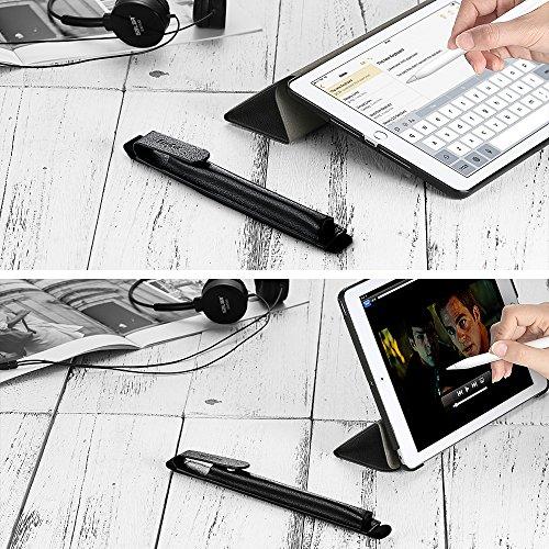 EasyAcc iPad 2018 Hülle und Apple Pencil Halter, Ultra Dünn Smart Cover für iPad 2017/2018 9.7 Zoll mit Automatischem Schlaf Funktion und Standfunktion - Hochwertiges PU Leder Hülle Schwarz