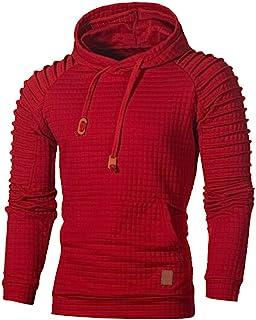 Mens Plaid Pleated Long Sleeve Hoodie Pullover Sweatshirt Top Tee Outwear Blouse