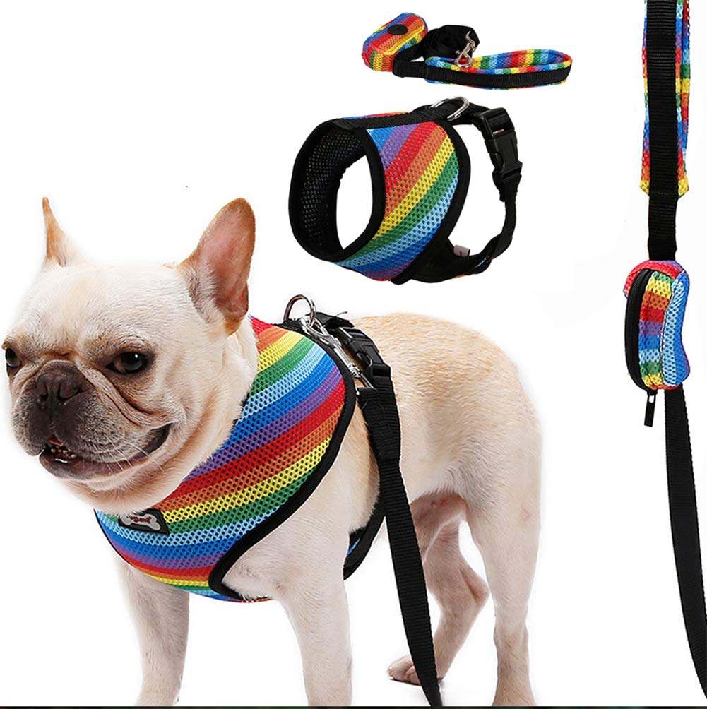POWEROWL Dog Harness,Dog Leash,Dog Seat Belt,Dog Collar 4 in 1 Lightweight Denim Fabric suitable for Outdoor Training Walking and In-car Use Small