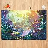 Alfombra de baño Antideslizante,Arte Animales Marinos, Submarino con arrecifes de Coral y Peces de Colores Acuario Arte artístico Apto para Cocina, salón, Ducha (50x80 cm)