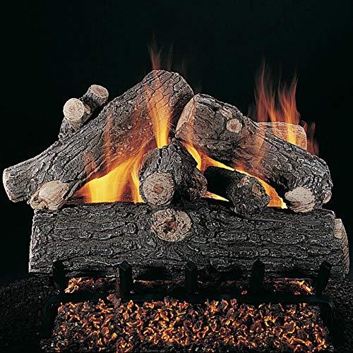 Best Buy! Rasmussen 18-Inch Prestige Oak Gas Log Set with Vented Valve Vanisher Propane Flaming Embe...