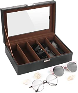 SHYOSUCCE 5 Scomparti Scatola per Occhiali con Copertura Trasparente, Occhiali Custodia Organizzatore per Occhiali, Occhia...