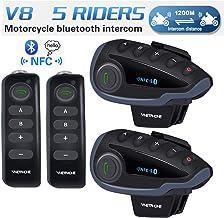 Moto Auricolare Bluetooth con FM YTGOOD Interfono Moto Cuffie Interfono Bluetooth per Moto Comunicazione da 1600m tra 4 Motociclisti Casco Interfono Bluetooth con Cancellazione del Rumore