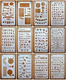 Journal Stencil Set for Dotted Journals, Journalling Supplies/Accessories Kit Includes Daily/Weekly/Monthly Calendars, Icon, Chart, Numbers,Shape