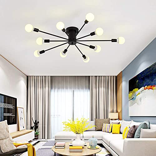 Beautiful Vintage Chandelier Ceiling Light, 10 Lights Industrial Semi Flush Mount  Ceiling Lamp Black Wrought