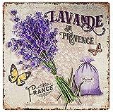zeitzone Blechschild Lavande de Provence Dekoschild Lavendel Nostalgie 30x30cm